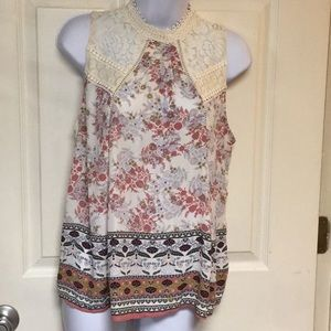 Taylor and sage top with lace , size L